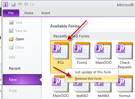 How to remove an InfoPath Template